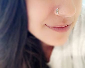 Swarovski crystal Indian nose ring. Septum. Handmade. Gift. Women. Jewelry. Gold. Nose hoop. Bohemian.Stone. Statement Ring. Nose ring hoop