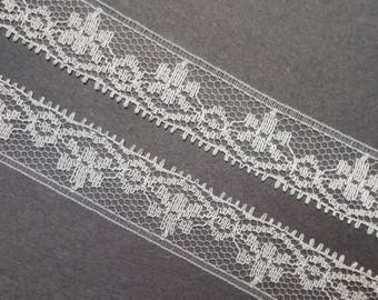 Vintage 3/4 inch wide, white, floral lace trim- by the yard