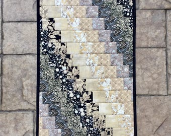 "Quilted Table runner black and beige bargello table runner topper dresser scarf dresser runner moda fabric 16.5"" x 31"""