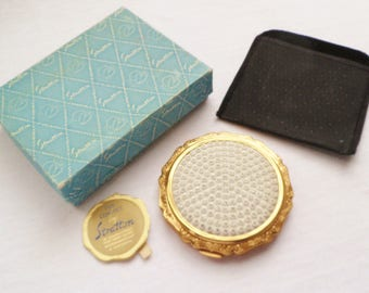 Vintage Stratton Jewelled Rhinestones Powder Compact V.G.C. 1950's Crystal Stones Stratton Un-used Powder Compact.