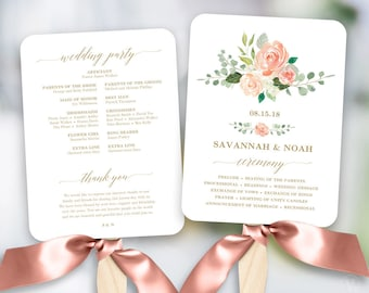 Peach Blush Floral Wedding Program Fan Template, Printable Fan Wedding Programs, DIY Wedding Fans, Editable text, Peach Gold
