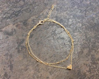 """Ankle Bracelet chains in gold plate 9-10 1/4"""" adjustable double chain with heart detail Gold anklet"""