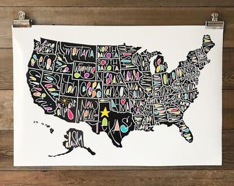 JUMBO United States Map, Folk Art, Hand Lettered, Poster, Wall Art, Illustration, US Map, States, Print