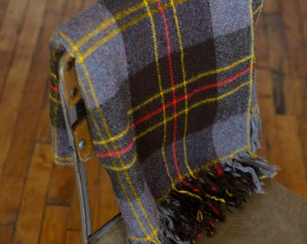 Vintage Faribo plaid wool throw blanket taupe chocolate brown w yellow and red stripes