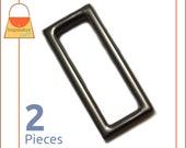 """1.5 Inch Flat Cast Rectangle Ring, Gun Metal Finish, 2 Pack, Purse Handbag Hardware Supplies, 1-1/2"""" Rectangular Gunmetal, RNG-AA272"""