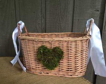Wedding basket/ program basket/ wedding program basket/ basket for wedding/ rustic wedding basket/ woodland basket/ woodland wedding/ basket