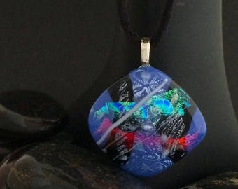 25% off One of a Kind Diamond Shaped Lavender Dichroic Fused Glass Pendant