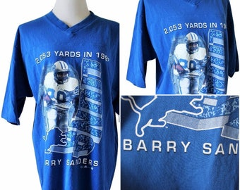 Rare Vtg 90s Barry Sanders/Detroit Lions/Boyfriend Jersey/Collector's Item/Super Soft and Comfy/Fits Close to: L-L/XL