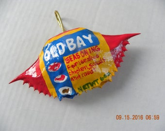 Christmas tree crab shell ornament Baltimore's Old Bay Seafood Seasoning Can painted on a real Maryland blue crab shell