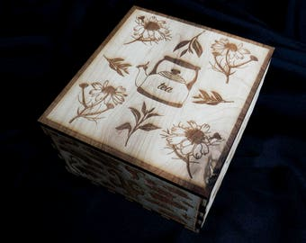 Wooden Tea Box Organizer Etch Engraved Laser