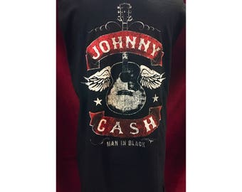 Custom Vintage Distressed Johnny Cash Tshirt