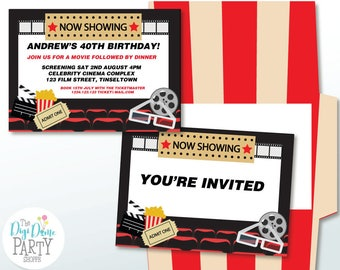 Cinema Movie Theater Party Printable Invitation, 5x7in. Instant Download