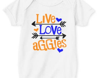 Live Love Aggies Unisex Baby Onsie. NCAT Onsie. Blue and Gold shirt. North Carolina. Aggie Pride. Future Aggie