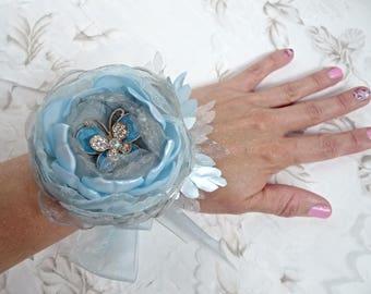 "Blue and Gray   Fabric Flower  (Brooch, Hair clip, Headband, Wrist corsage, Floral bracelet )  ""Breeze"""