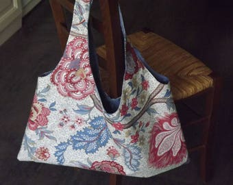 Fabric reversible floral boho bag / blue