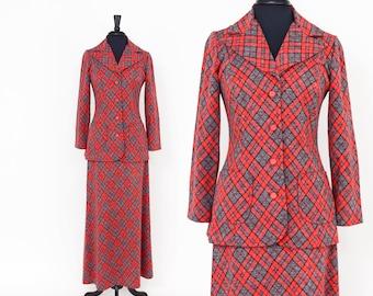 70s Red Plaid Suit Jacket and Maxi Skirt | Koret of California | Medium
