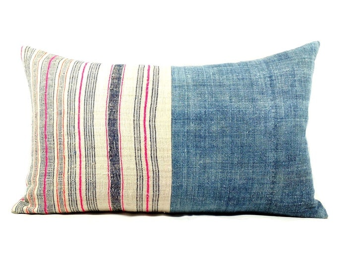 Vintage Striped Hemp/Indigo Hmong Handwoven Hemp Pillow Cover/Bohemian Decorative Pillow Cover/Hill Tribe Ethnic Costume Textile Pillow