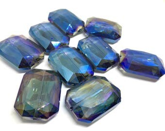 34mm Glass Crystal in Blue / Purple - faceted crystals for jewelry creation, bangle making, purple blue faceted crystals, blue beads, purple