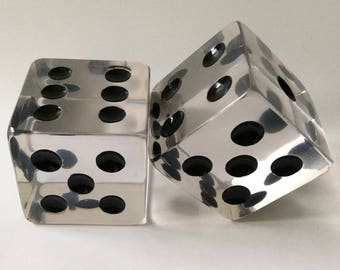 MidCentury Oversized Lucite Dice Bookends, Charles Hollis Jones Style