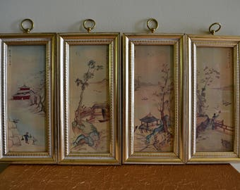 Vintage Illinois Moulding Co. Asian Watercolor Framed Art