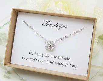 Luxury Square Pendant bridesmaid Cubic Zirconia Necklace, Bridesmaid Gift