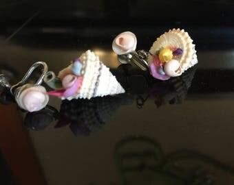 Vintage Sea Shell Pastel clip on Earings 2 E