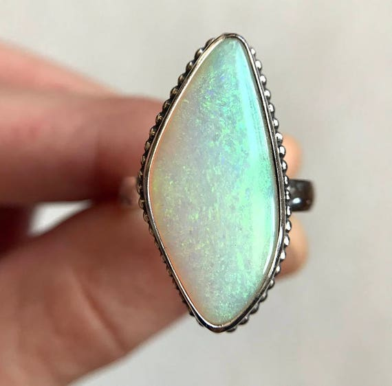 "Sterling silver ""Stella"" ring with Australian Crystal Pipe opal SZ 8"