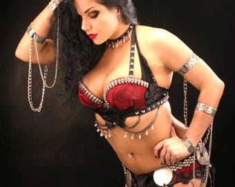 Kali. Diana Bastet Dark Fusion Gothic Fusion Belly Dance costume, Skulls and Roses, Whole Set YOUR size