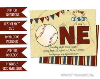 Baseball 1st Birthday Invitations - Baseball ONE birthday Invitation - Baseball First Birthday - Slugger - Home Run - Vintage Baseball Party