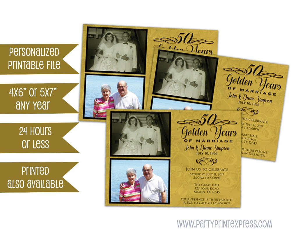 Fiftieth Wedding Anniversary Invitations: Printable 50th Anniversary Invitations 50th Wedding
