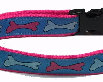 Dog Collar, Pink and Blue Bones