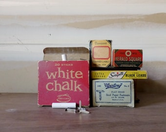 Vintage Office Supplies / Instant Collection / Binney and Smith / Noestring Steel Fasteners / School Chalk / Small Boxes