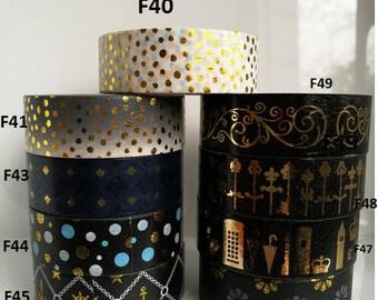 Pick your own Kawaii Black Gold Foil Washi Tape Samples - Foil Washi Sample