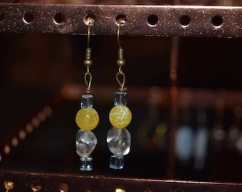 Blue and yellow bead dangle earrings