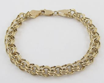 14k Yellow Gold Charm Bracelet with Double Ring Link 7 Inches 6.3 grams
