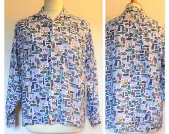 Mans patterned shirt vintage party shirt holiday shirt casual shirt size M see measurements