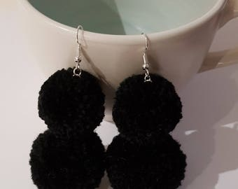 pompom earrings, pom earrings, pom-pom earrings, pom pom earrings, gift for her, jewelry, dangle earrings, dangle pom poms, pompom drop