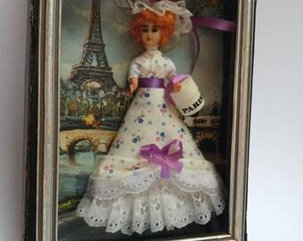 Vintage Paris France souvenir doll diorama