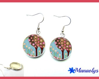 Trees, colorful flowers, glass 2508 cabochons earrings