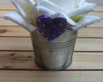 Decorative clothespin to choose purple heart printed felt