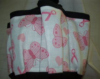 Pink Ribbons and Butterflys Cloth Bingo Bag
