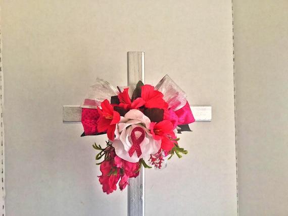 Memorial Breast Cancer pink ribbon Cross , Cemetery Cross, Grave flowers, Roadside Memorial, Grave Marker, Memorial Cross,