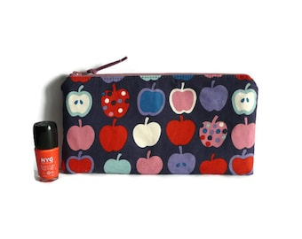 Apple pencil case, cosmetic case, small pouch, Alexander Henry fabric, teacher gift, fruit print, pencil pouch, cosmetic case, girls gift