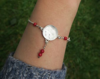 Moon Fertility Bracelet with Bamboo coral beads