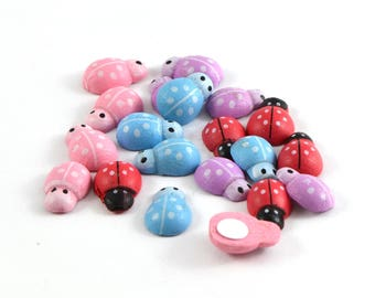 20 wooden pink, purple, blue and Red ladybugs