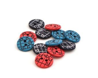 "Round kids buttons ""a, b, c"" 12 mm"