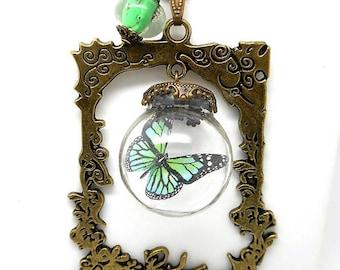 Globe glass ornate frame, Green Butterfly, Bead Necklace