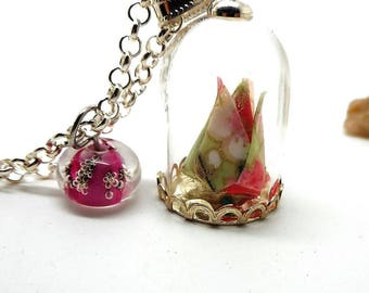 Origami flower glass globe necklace, Pearl spun pink
