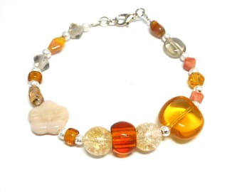 Amber colored glass beads bracelet