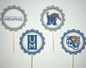 University of Memphis Tigers - 12  cupcake toppers